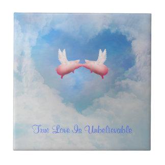 True Love Is Unbelievable-Flying Pigs Kissing Tile