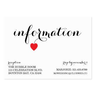true love MODERN WEDDING info card AQUA RED Business Cards