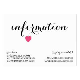 true love MODERN WEDDING info card CANDY Business Card Templates