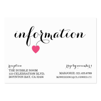 true love MODERN WEDDING info card NAVY PINK Business Card