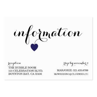 true love MODERN WEDDING info card NAVY YELLOW Business Card