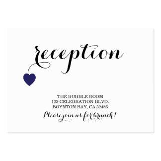 true love MODERN WEDDING reception card NAVY Business Card Template