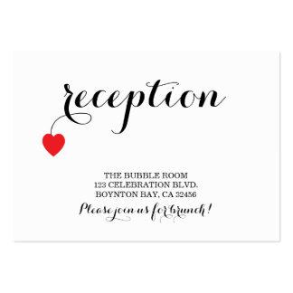 true love MODERN WEDDING reception card RED Business Card Templates