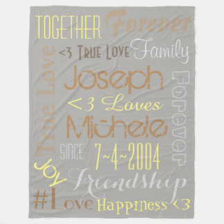 True Love Names and Date Blanket Personalised