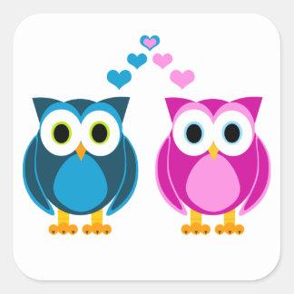 True Love - Owl Cartoon Square Sticker