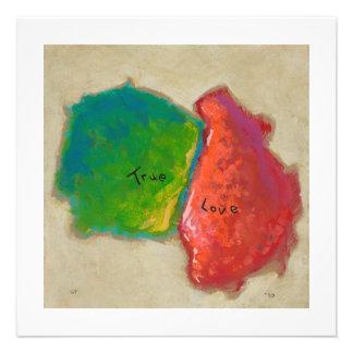True Love painting modern abstract art red green Custom Invites