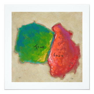 """True Love painting modern abstract art red green 5.25"""" Square Invitation Card"""