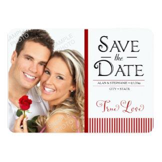 True Love Red Stripes Save The Date 13 Cm X 18 Cm Invitation Card