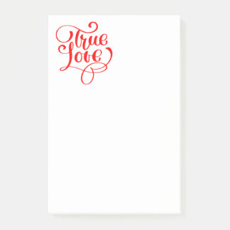 True Love Red & White Typography Wedding Bridal Post-it Notes