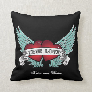 True Love Rockabilly Winged Heart Cushion