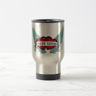 True Love Rockabilly Winged Heart Travel Mug