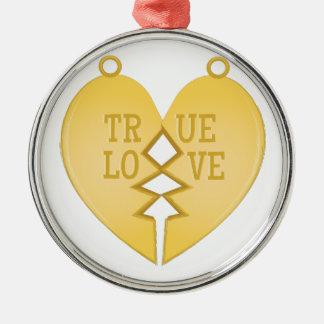 True Love Silver-Colored Round Decoration