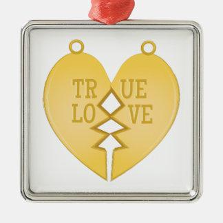 True Love Silver-Colored Square Decoration