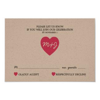 True Love Wedding RSVP Card PINK