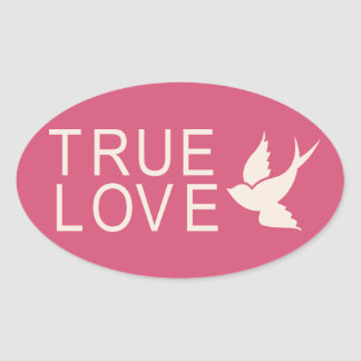 True Love With Dove Pink Wedding Stickers