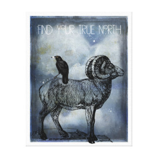 True North Big Horn Sheep And Crow Canvas Art