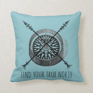 True North Compass Throw Pillow