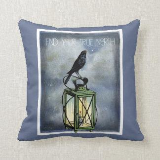 True North Crow On Vintage Lantern Cushion
