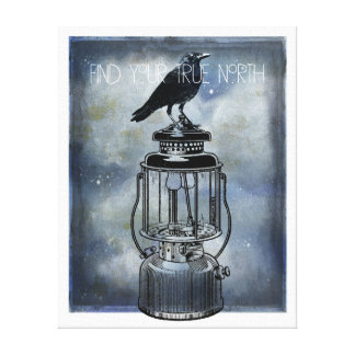 True North Crow Sits On Lantern Canvas Art