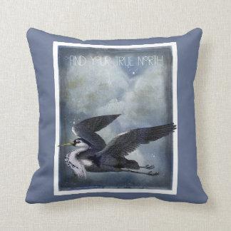 True North Grey Heron Against Mystical Clouds Cushion