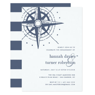 True North | Nautical Engagement Party Invitation