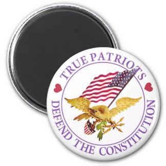 TRUE PATRIOTS DEFEND THE CONSTITUTION REFRIGERATOR MAGNET