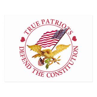 TRUE PATRIOTS DEFEND THE CONSTITUTION POSTCARD
