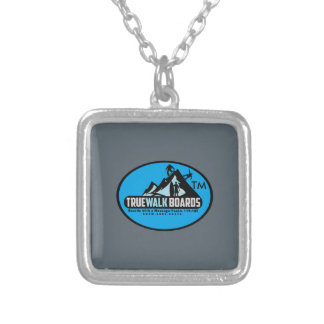 TRUEWALK LOGO Small Silver Plated Square Necklace