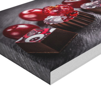 Truffle chocolate candies stretched canvas prints