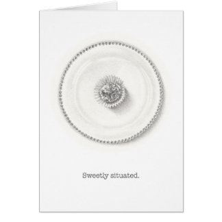 Truffle on a plate pencil illustration card