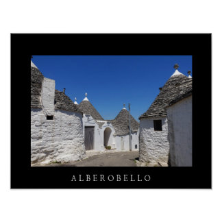 Trulli houses in Alberobello, Puglia black poster