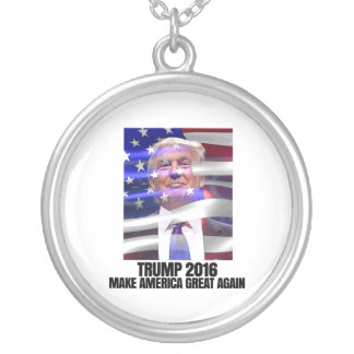 TRUMP 2016 MAKE AMERICA GREAT AGAIN SILVER PLATED NECKLACE