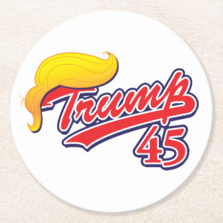 Trump-45-with-Hair Round Paper Coaster