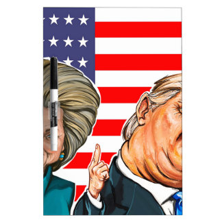 Trump and Hillary Caricature Dry Erase Board