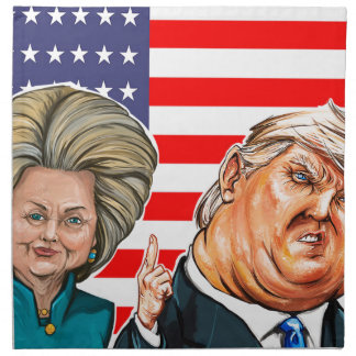 Trump and Hillary Caricature Napkin