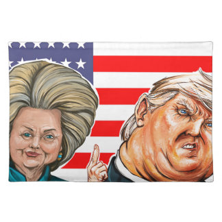 Trump and Hillary Caricature Placemat