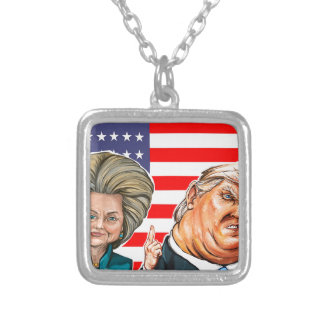 Trump and Hillary Caricature Silver Plated Necklace