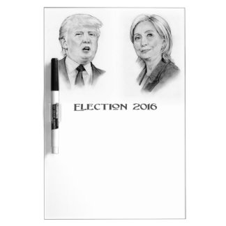 Trump and Hillary Pencil Portraits, Election 2016 Dry Erase Board