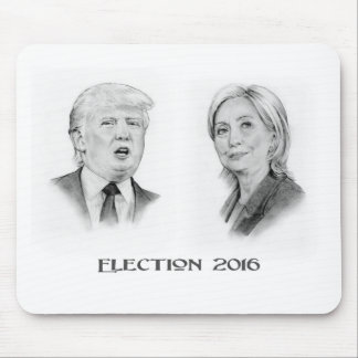 Trump and Hillary Pencil Portraits, Election 2016 Mouse Pad