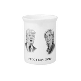 Trump and Hillary Pencil Portraits, Election 2016 Pitcher