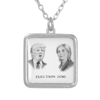 Trump and Hillary Pencil Portraits, Election 2016 Silver Plated Necklace