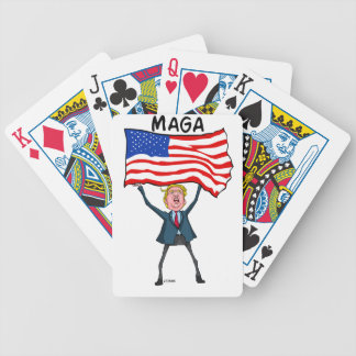 Trump Carrying US Flag with MAGA Text Bicycle Playing Cards