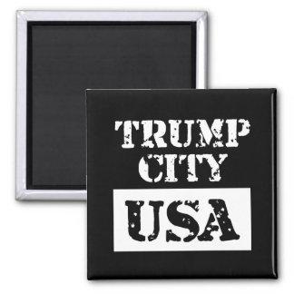Trump City USA Black Square Magnet