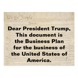 Trump Constitution is the USA Business Plan Postcard