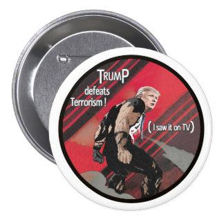 Trump defeats terrorism 7.5 cm round badge
