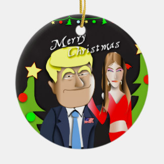 Trump, Donald, Melania, Christmas, gift, present, Ceramic Ornament