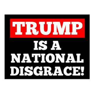 Trump is a National Disgrace Black Postcard
