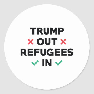 Trump Out Refugees In Round Sticker