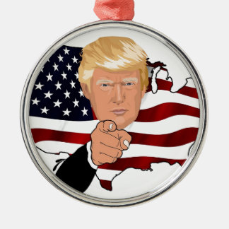 Trump President Uncle Sam Usa America Flag Metal Ornament
