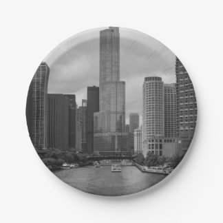 Trump Tower Chicago River Grayscale 7 Inch Paper Plate